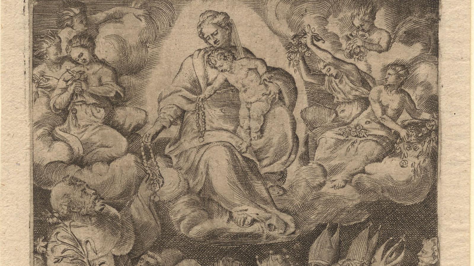 vierge donnant le rosaire à Saint Dominique